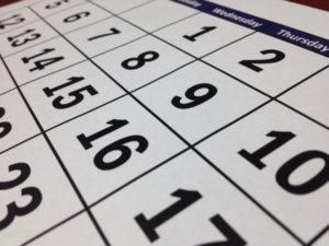 白黒のカレンダー